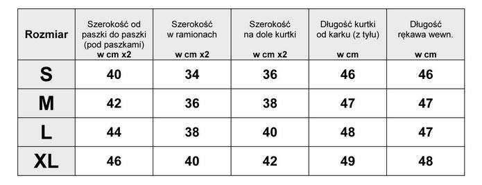 Tabelka wymiarów Kurtka Damska katana Jeans wiosna lato jesień model #159 fashionavenue.pl