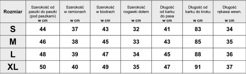 Tabelka wymiarów Kurtka Damska Jeans Długa Przecierana wiosna lato jesień model #135 fashionavenue.pl