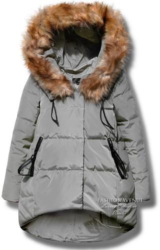 fb15dc0659e6 kurtka damska parka ocieplana asymetryczna futerko zamek napy zimowa  wiosenna model  104 lewandowska fashionavenue.