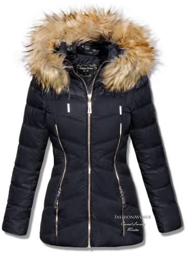 kurtka zimowa damska czarna kaptur z futrem