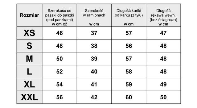 Tabela Wymiarów Kurtka Damska Bomberka #121 fashionavenue.pl