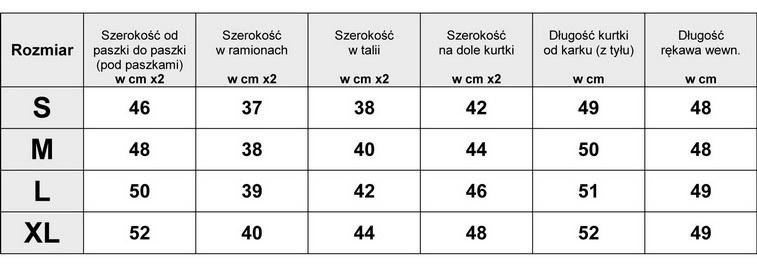 Tabela Wymiarów Kurtka Damska Ramoneska Melanż #126 fashionavenue.pl