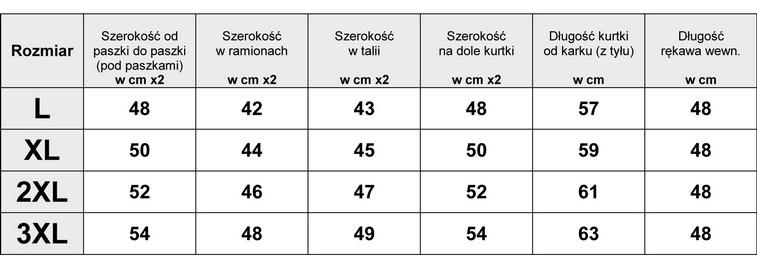 Tabelka wymiarów Kurtka Damska katana Jeans PLUS SIZE wiosna lato jesień model #139 fashionavenue.pl