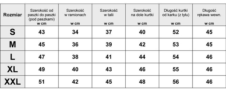 Tabelka wymiarów Kurtka Damska katana Jeans wiosna lato jesień model #139 fashionavenue.pl