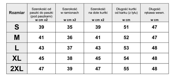Tabelka wymiarów Kurtka Damska katana Jeans Slim Stretch wiosna lato jesień model #144 fashionavenue.pl