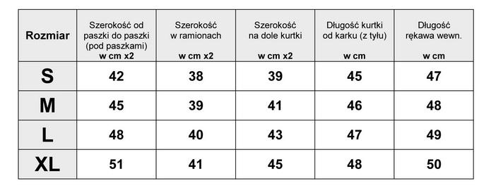 Tabelka wymiarów Kurtka Damska katana Jeans koronka Haft wiosna lato jesień model #145 fashionavenue.pl