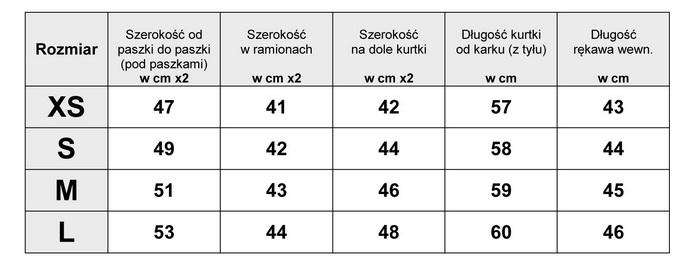 Tabelka wymiarów Kurtka Damska katana Jeans Tiul Haft Kwiaty wiosna lato jesień model #146 fashionavenue.pl