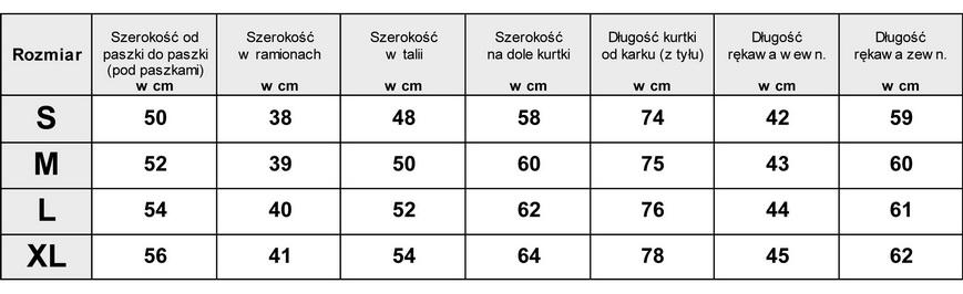 Tabela Wymiarów Kurtka Parka Khaki Militarna Perełki Krzyształki #1154fashionavenue.pl