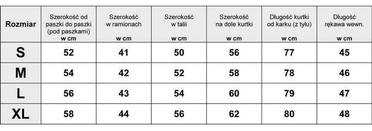 Tabela Wymiarów Kurtka Parka Moro Militarna #1741 fashionavenue.pl
