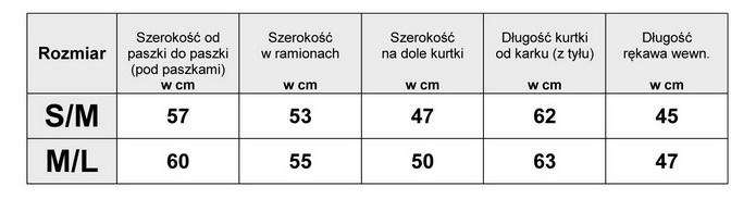 Tabelka wymiarów Kurtka Damska Jeans Długa Perełki Cyrkonie wiosna lato jesień model #A0933 fashionavenue.pl