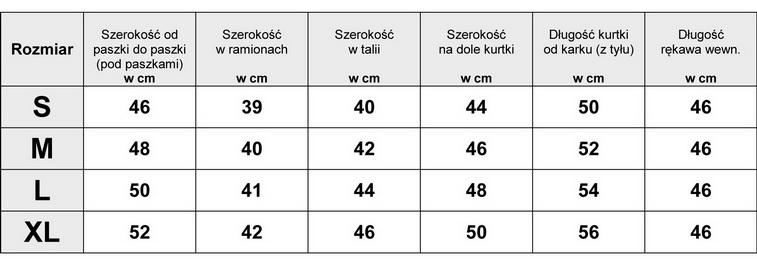 Tabela Wymiarów Kurtka Damska #AW635 fashionavenue.pl