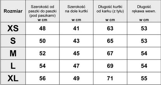 Tabelka Wymiarów Kurtka Damska Bomberka Haftowana #H-795