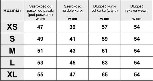 Tabelka Wymiarów Kurtka Damska Bomberka Haftowana #H-796