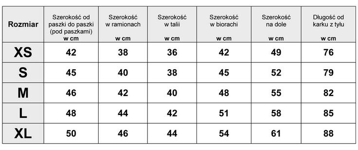 Tabelka wymiarów SUKIENKA JEANSOWA model JS706 FASIONAVENUE.PL