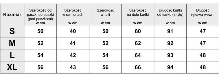 Tabela Wymiarów Kurtka Parka Moro Militarna #YR1910 fashionavenue.pl