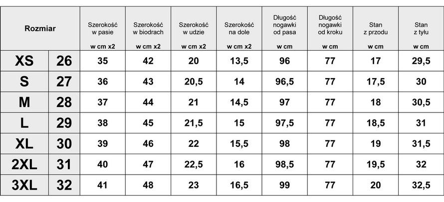 Tabelka wymiarów Spodnie Damskie Jeans Rurki model #JS222 fashionavenue.pl