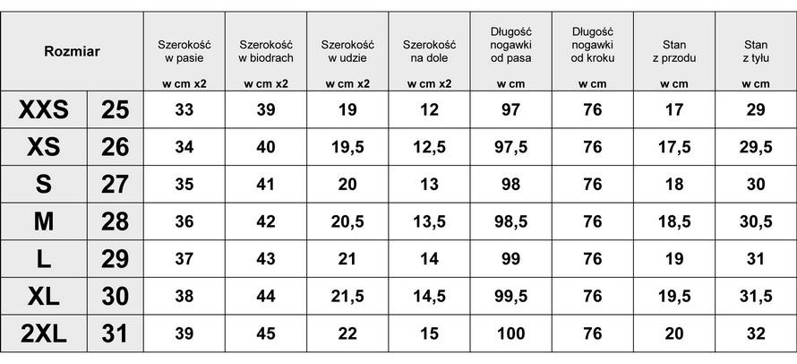Tabelka wymiarów Spodnie Damskie Jeans Rurki model #587 fashionavenue.pl