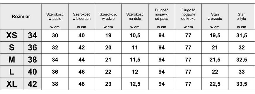 Tabelka wymiarów Spodnie Jeans Rurki Dziury Wiosna Lato #CD13