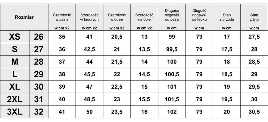Tabelka wymiarów Spodnie Damskie Jeans Rurki model #L203 fashionavenue.pl