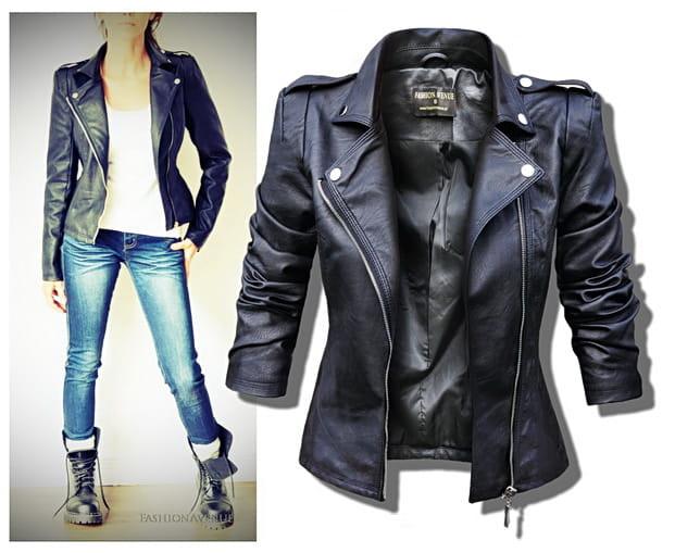 4e8d5a2ab2f71 ... Modna Klasyczna Kurtka Damska Ramoneska Pagony na Ramionach Motocyklowa Skóra  Biker Moto Jacket na Wiosnę Jesień ...