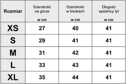 Tabelka wymiarów SPÓDNICA JEANSOWA MINI model #JS776 FASIONAVENUE.PL