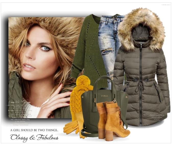 kurtka khaki zimowa stylizacja